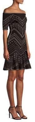 Herve Leger Off-The-Shoulder Jacquard Bodycon Dress