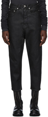 Rick Owens Black Waxed Cropped Collapse Jeans