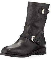 Oliver II Buckled Lamb-Leather Moto Boots