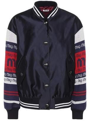 Wool-trim satin bomber jacket