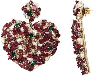 Deepa Gurnani Heart Crystal Earrings