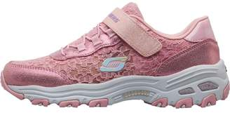 Skechers Girls DLites Lil Lace Gal Trainers Light Pink