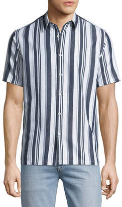 Theory Men's Irving Wide Striped Short-Sleeve Sport Shirt