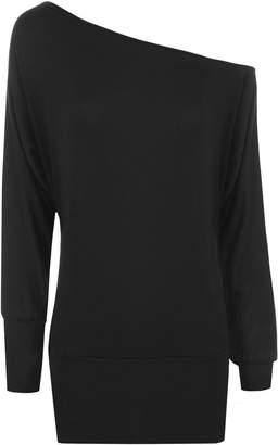 5889900985c WearAll Womens Off Shoulder Batwing Long Sleeved Plain T-Shirt Tunic Top -  14-
