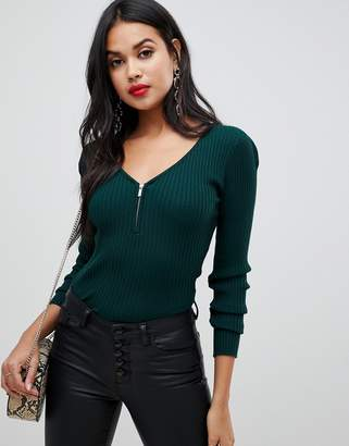 Morgan ribbed top in emerald green