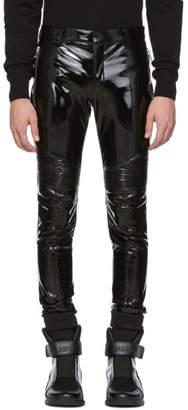Balmain Black Vinyl Biker Trousers