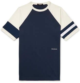Calvin Klein Embroidered Striped Cotton-Jersey T-Shirt - Navy