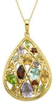 Lord & Taylor Multi-Stone Teardrop Pendant Necklace