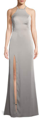 La Femme Jersey Sleeveless Gown w/ Beaded Straps