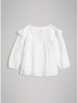Burberry Childrens Ruffle Detail Cotton Silk Blend Top