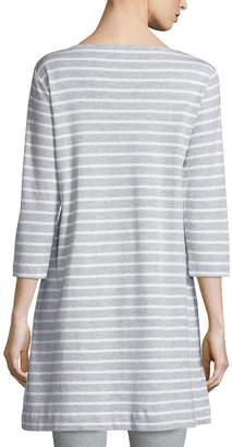 Joan Vass Striped Interlock Tunic, Gray/White, Petite