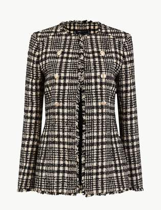 Marks and Spencer Tweed Checked Longline Blazer