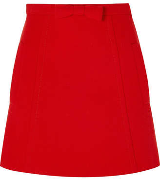 Miu Miu Bow-embellished Wool-crepe Mini Skirt - Red