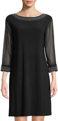 Neiman Marcus Pearly-Trim Round-Neck Mesh-Sleeve Jersey Cocktail Dress