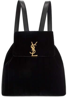 Saint Laurent Black Velvet Vicky Backpack