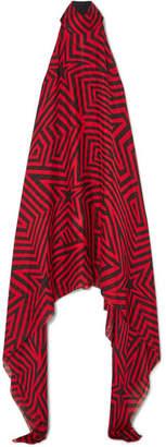 Gareth Pugh Asymmetric Printed Silk-chiffon Dress - Red
