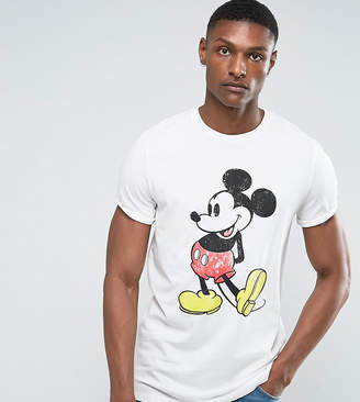 Asos Design Tall Mickey Relaxed T-Shirt With Vintage Print And Roll Sleeve