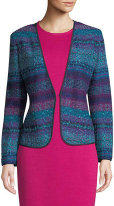 St. John Ellah Collarless Striped Knit Jacket