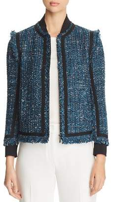 Elie Tahari Mennat Metallic Tweed Jacket