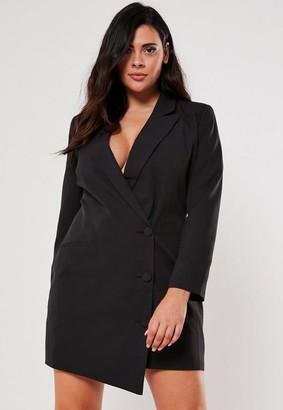 Missguided Plus Size Black Button Front Blazer Dress