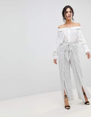 Forever New Tie Front Split Ttrouser in Stripe