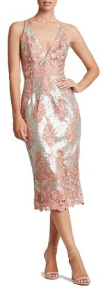 Women's Dress The Population Angela Sequin & Lace Midi Dress $254 thestylecure.com