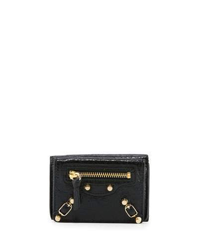 Balenciaga Balenciaga Classic Mini Leather Wallet, Black