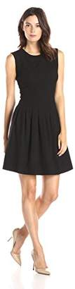 Lark & Ro Women's Soft Pleated Fit and Flare Dress