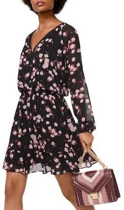 MICHAEL Michael Kors MICHAEL Rose Print Georgette Tie-Neck Dress
