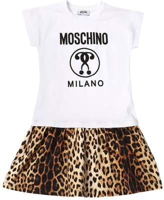 Moschino Leopard Print Cotton Sweatshirt Dress