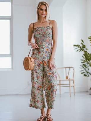 Goodnight Macaroon 'Kaelan' Floral Ruched Top Wide Leg Jumpsuit