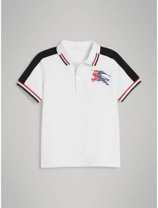 Burberry Childrens Stripe Detail Cotton Polo Shirt