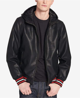 Tommy Hilfiger Men's Faux-Leather Hooded Bomber Jacket
