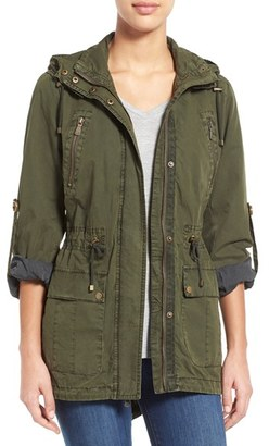 Women's Levi'S Parachute Hooded Cotton Utility Jacket $150 thestylecure.com