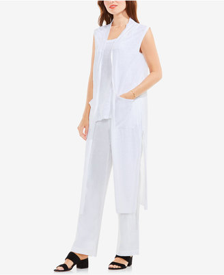 TWO by Vince Camuto Linen Open-Front Long Vest $99 thestylecure.com