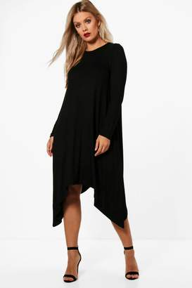 boohoo Plus Long Sleeve Hanky Hem Swing Dress