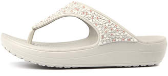 Crocs Sloane embellished Pearl white Sandals Womens Shoes Casual Heeled Sandals