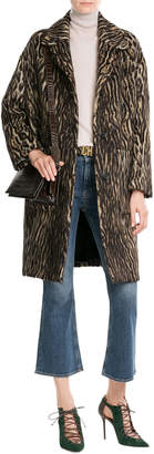 Rochas Animal Print Coat with Virgin Wool and Alpaca