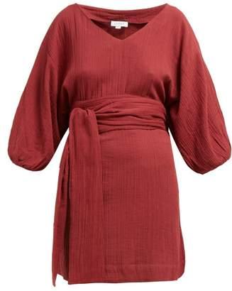Rhode Resort Arya Belted Slubbed Cotton Mini Dress - Womens - Burgundy