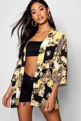 boohoo Leopard Chain Print Midi Kimono