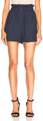 Tibi Viscose Gingham Pull On Shorts