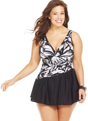 Miraclesuit Womens Plus Size Aurora Printed Swimdress One Piece