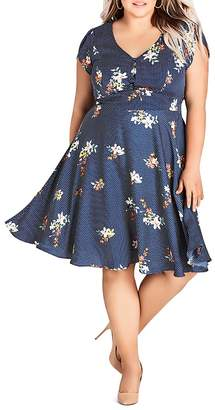City Chic Plus Sweet Spot Floral-Print Fit-and-Flare Dress
