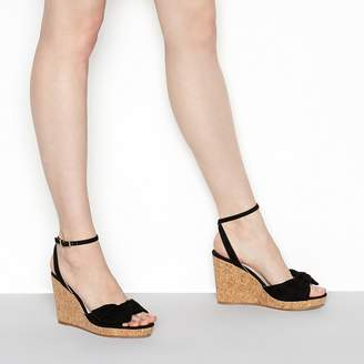 Faith Black Suedette 'Dakota' High Wedge Heel Wide Fit Ankle Strap Sandals