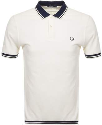 Fred Perry Twin Tipped Polo T Shirt Cream