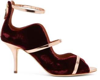Malone Souliers By Roy Luwolt - Mika Metallic Trimmed Velvet Pumps - Womens - Burgundy Multi