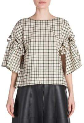 Fendi Check Bow Blouse
