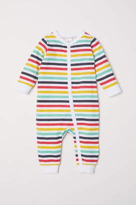 H&M Printed Pajama Jumpsuit - White/multicolored stripes - Kids