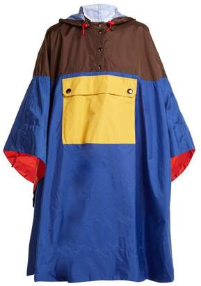 Marni Colour Block Hooded Poncho - Womens - Blue Multi