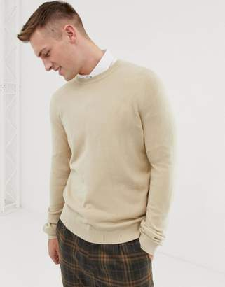 Asos DESIGN Crew Neck Sweater In Oatmeal